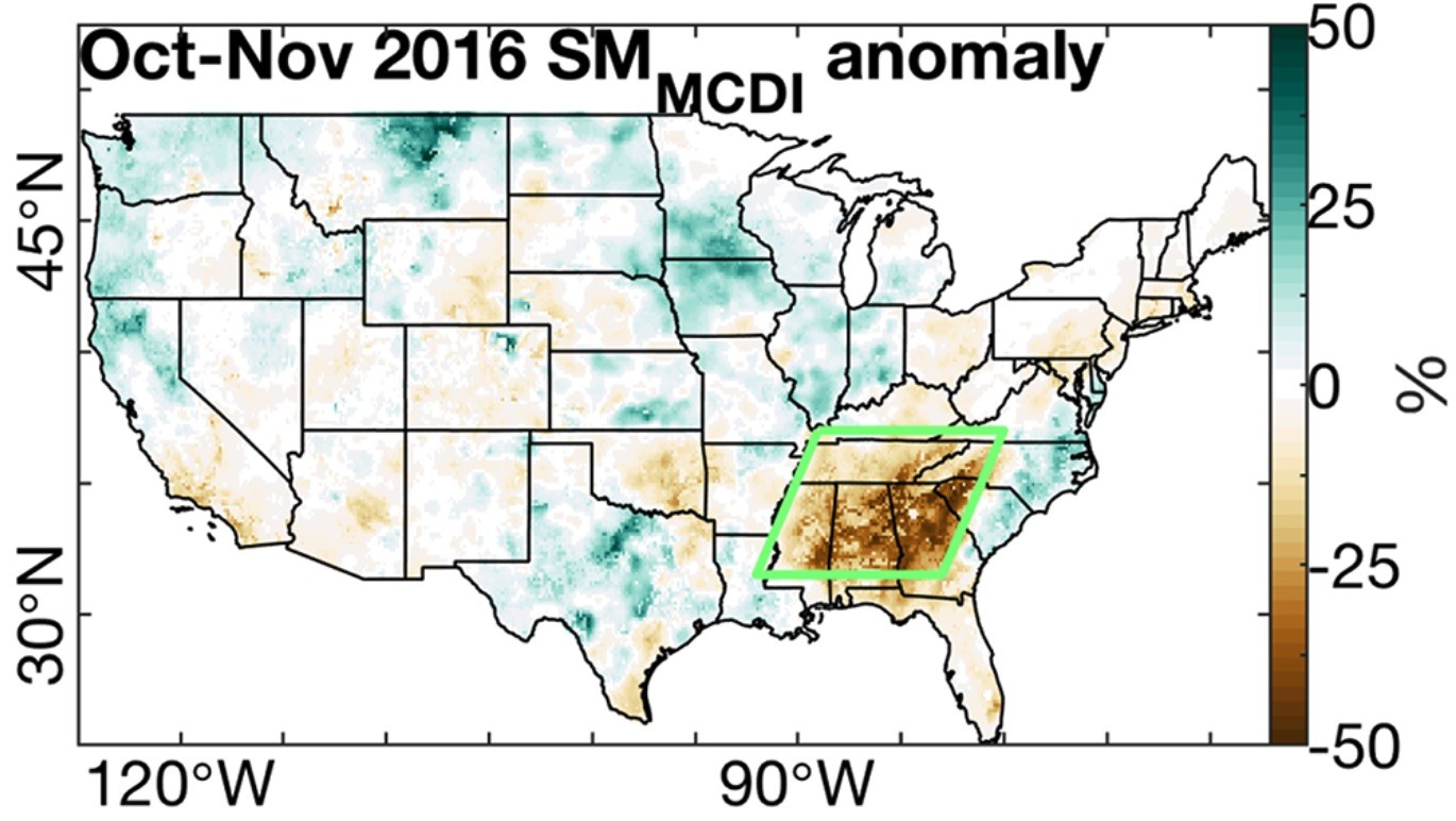 Map of Oct-Nov 2016 relative SMMCDI anomalies. Anomalies are departures from the 1921–2000 mean. The green polygon in Figure 5d bounds the SE U.S. study region.
