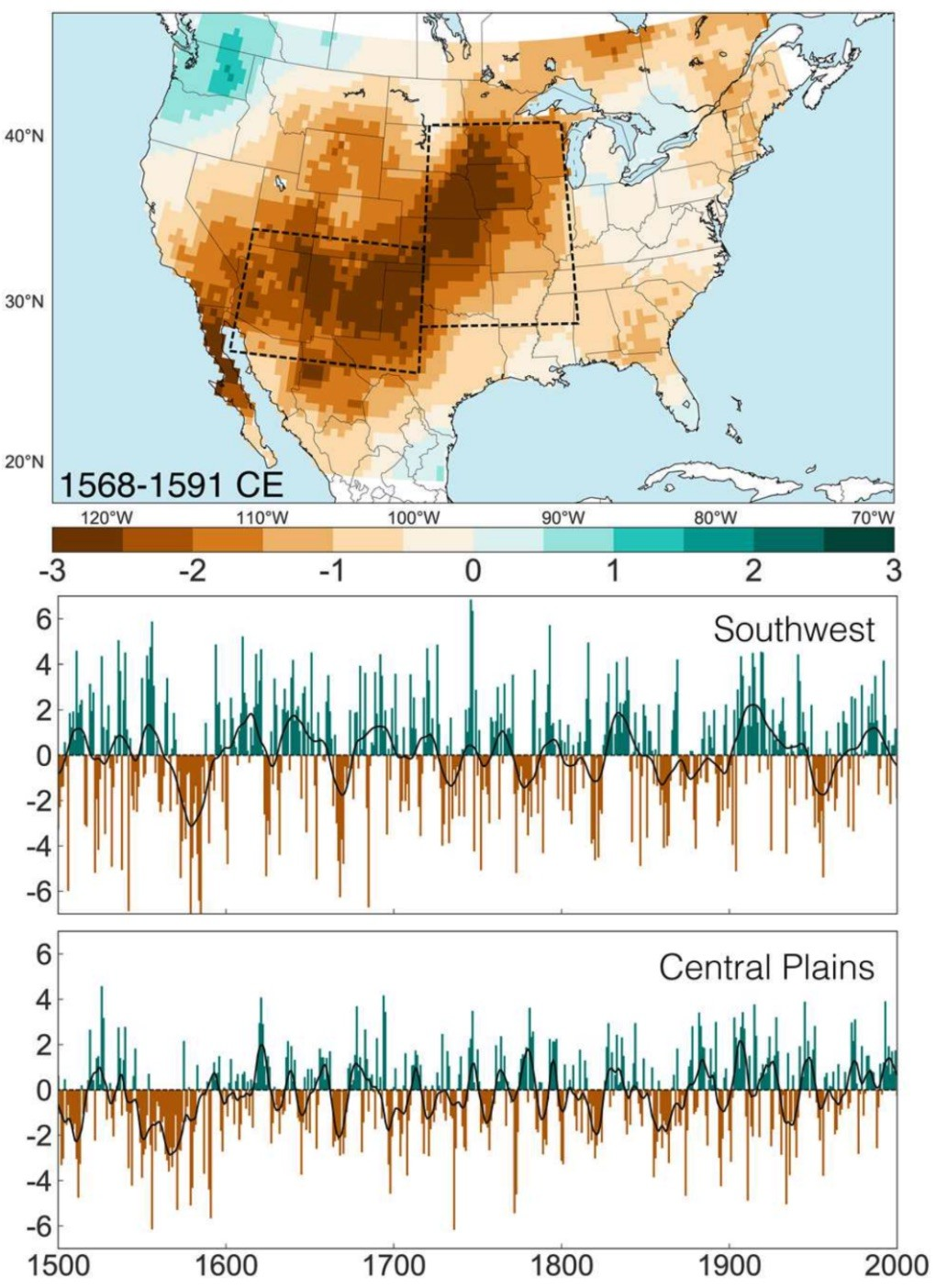 Summer (June-July-August) drought anomalies (Palmer DroughtSeverity Index) from the latest version of the North American Drought Atlas for the late 16th-century.