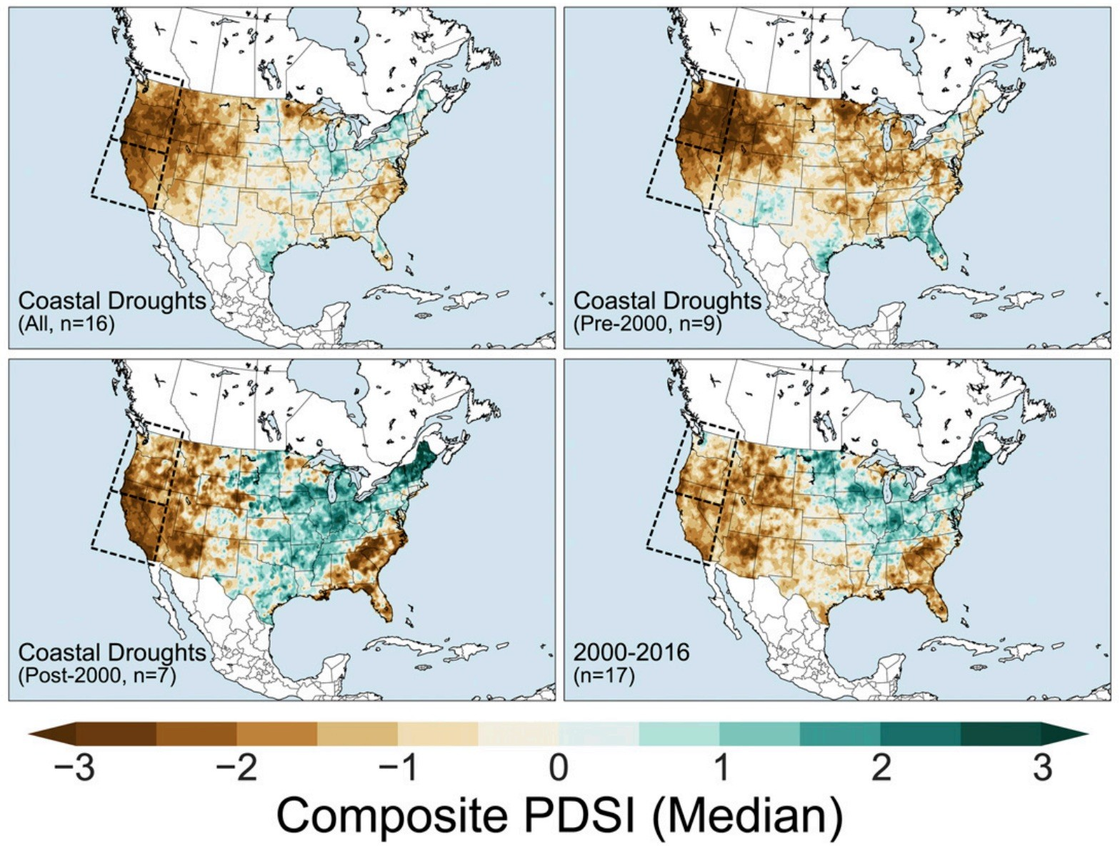 Coastal droughts composites during 20th century (also subsets shown before and after 2000)